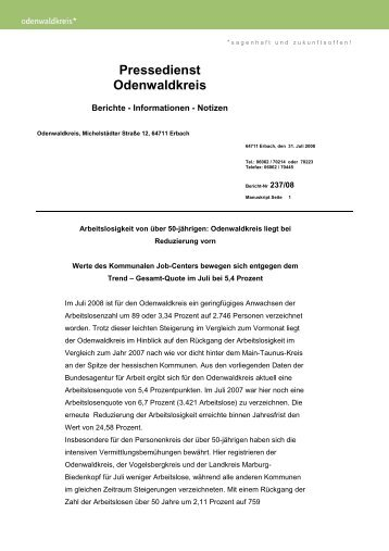 Pressemitteilung Arbeitslosenzahlen 07-2008 - Kompass-Treff