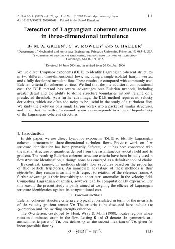 Detection of Lagrangian coherent structures in three-dimensional ...