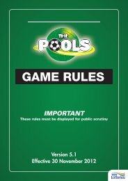The Pools Game Rules