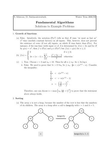Fundamental Algorithms Solutions to Example Problems