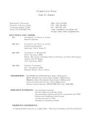 Curriculum Vitae Joel D. Green - Physics and Astronomy - University ...
