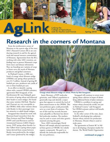 Spring 2010 - College of Agriculture - Montana State University