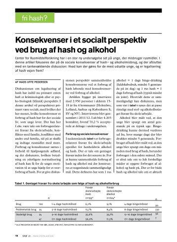 Konsekvenser i et socialt perspektiv ved brug af hash og alkohol - Stof