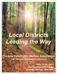 Local Districts Leading the Way - New York Public Welfare Association