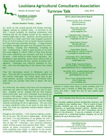Spring 2013 - Louisiana Agricultural Consultants Association ( LACA )