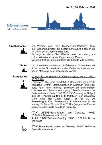 Info-Blatt 5, 8 Februar 2009 - Kirchengemeinde St. Marien und St ...