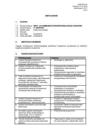 AMETIJUHEND 1. ÜLDOSA 1.1 Struktuuriüksus: INFO- JA ...