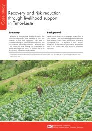 Recovery and risk reduction through livelihood support in Timor-Leste