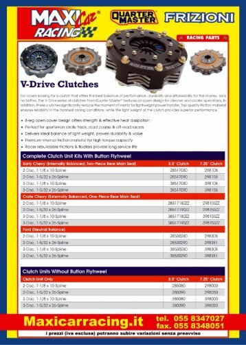 For racers looking for a clutch That offers the best ... - Maxi Car Racing