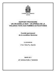 RAPPORT PROVISOIRE UN CRI DANS LA NUIT - Parlement du ...