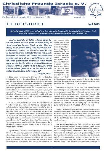GEBETSBRIEF - Christliche Freunde Israels