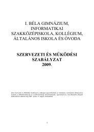 Iskolai SZMSZ - I. Béla Gimnázium - Sulinet