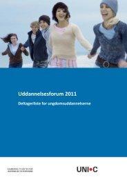 Deltagerliste for ungdomsuddannelserne - Uddannelsesforum 2011