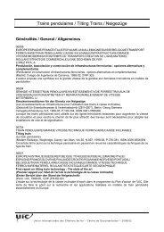 Trains pendulaires / Tilting Trains / Neigezüge - UIC