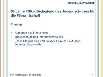 60 Jahre FSK – Bedeutung des Jugendschutzes für die ... - SPIO