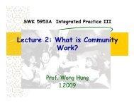 Lecture 2: What is Community Work? - hcyuen@swk.cuhk.edu.hk