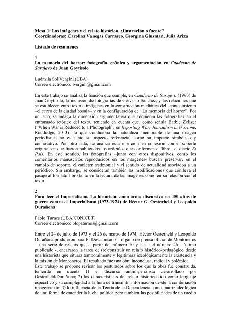 resúmenes - Instituto de Altos Estudios Sociales