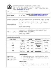 CV - Dept of CSA, IISc, webmail - Iisc.ernet.in
