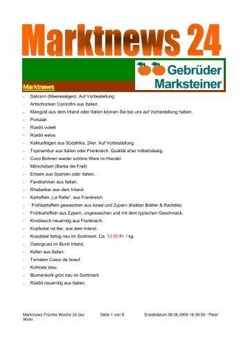 Marktnews Früchte Woche 24 - Gourmador Zollikofen
