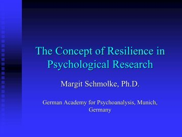 The Concept of Resilience in Psychological Research