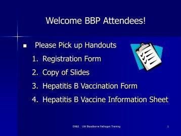 Bloodborne Pathogens PowerPoint - Environmental Health and Safety