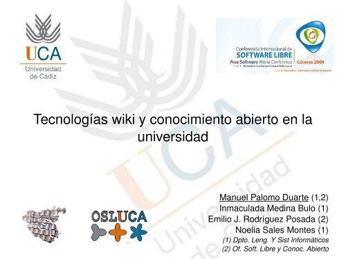 Tecnologías wiki y conocimiento abierto en la universidad