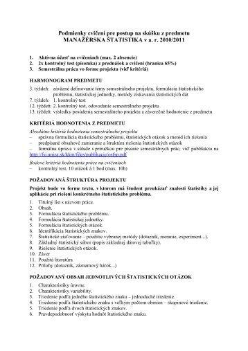 Podmienky cvičení pre postup na skúšku z predmetu MANAŽÉRSKA ...