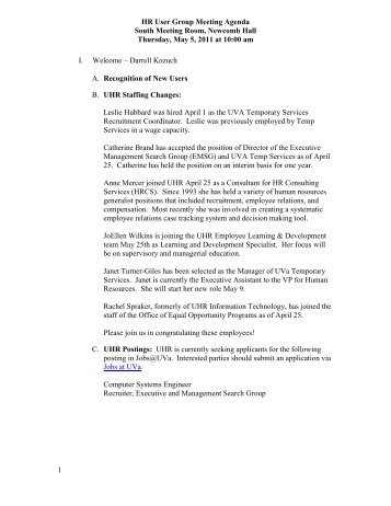 HR User Group Meeting Agenda - UVA Human Resources