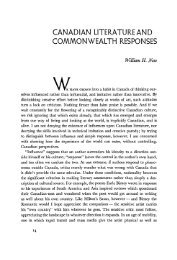 CANADIAN LITERATURE AND COMMONWEALTH RESPONSES