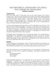 THE HISTORICAL GEOGRAPHY OF CHINA FIVE THEMES OF ...