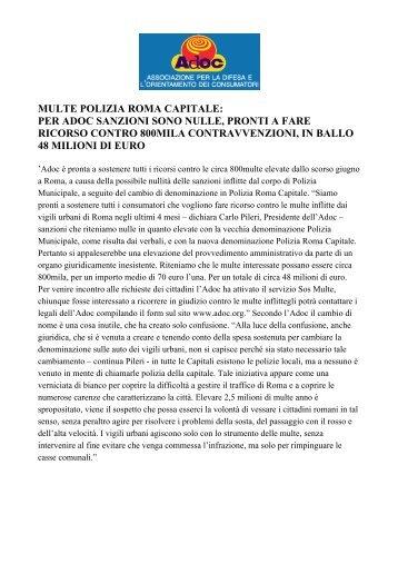 multe polizia roma capitale: per adoc sanzioni sono nulle ... - Ospol
