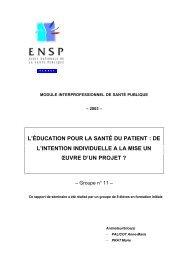 l'éducation pour la santé du patient - Banque de données en santé ...