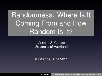 Randomness - Particle Physics Group