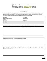 Volunteer Application Form - Headwaters Racquet Club