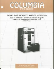 TANKLESS INDIRECT WATER HEATERS - Columbia Heating