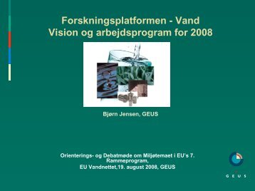 vision og arbejdsprogram 2008.v. Bjørn Kaare Jensen, GEUS