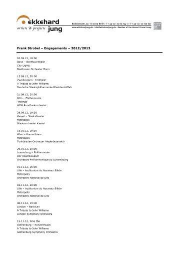 Frank Strobel – Engagements – 2012/2013