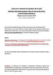 Dossier d'inscription au second concours