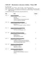 CHM 457 Biochemistry Laboratory Syllabus Winter 2009
