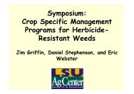 Crop Specific Management Programs for Herbicide Resistant Weeds