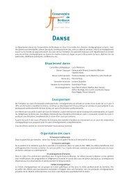 Conservatoire de Bordeaux : informations Danse