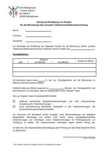 Antrag auf Erstattung Telekommunikationskosten - Amt Kellinghusen