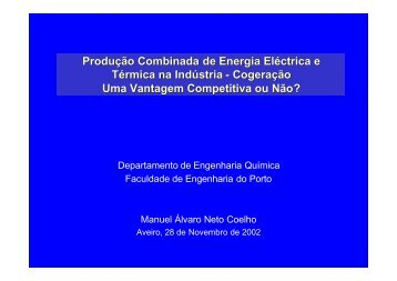Produção Combinada de Energia Eléctrica e Térmica na Indústria ...