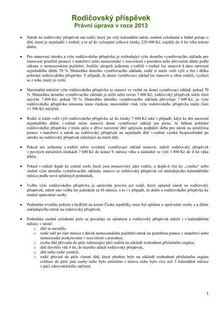 Právní úprava nároku na rodičovský příspěvek 2013
