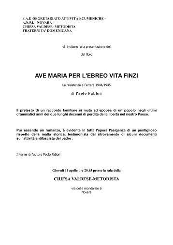 AVE MARIA PER L'EBREO VITA FINZI - Anpi Novara