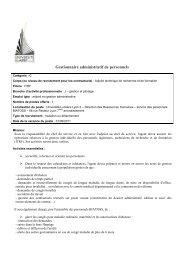 Profil poste gestionnaire de personnels DRH ... - Rhone-Alpes