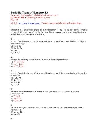 Periodic Trends (Homework) - Tutor-Homework.com