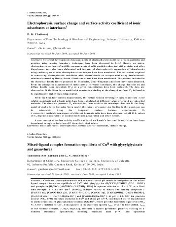 Abstracts of Journal of Indian Chemical Society Vol.86, October ...
