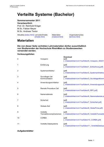 Verteilte Systeme (Bachelor) - Hochschule RheinMain