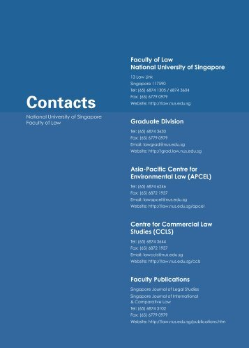 Contacts - Faculty of Law - National University of Singapore